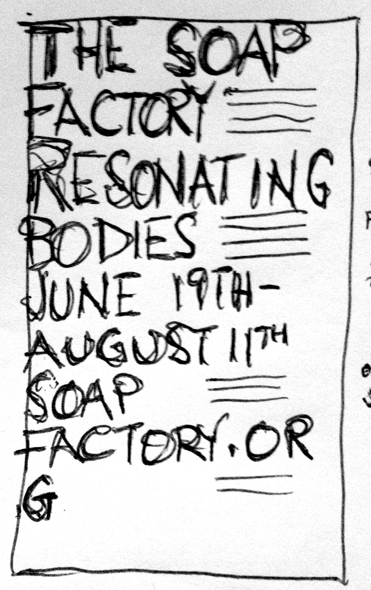 Resonating Bodies poster concept where type would be set at extremes forcing the viewer to move their body through space to interact with it.