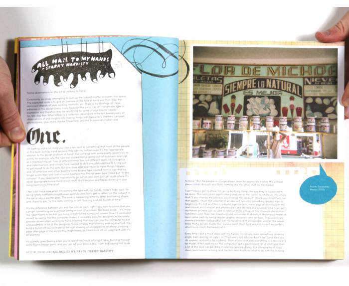 "Spread from ""Hand Job"" featuring Joshua Hardisty's foreword. Design by Mike Perry. Illustration at top left by Joshua."