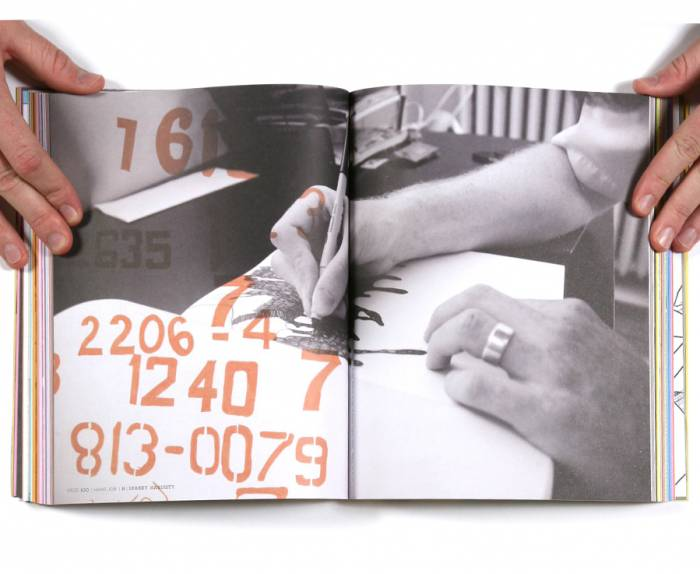 "Spread from ""Hand Job"". Photograph of Joshua drawing by Kimberlee Whaley. Numbers from a sketch book of type copied from photos of vernacular typography by Joshua. Page design by Mike Perry."