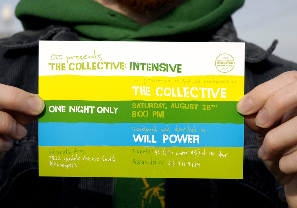 """The Collective: Intensive"" flyer designed by Joshua Hardisty in 2004 was one of the MVA's pieces that was reproduced in ""Hand Job"""