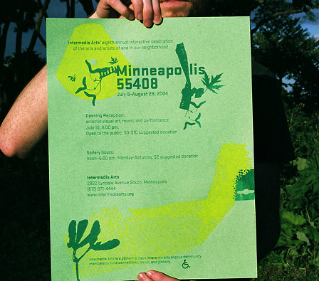 """Minneapolis 55408"" exhibition poster, 2004. Design and illustration by Joshua Hardisty."