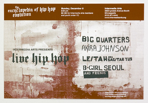 """Live Hip Hop"" poster designed by Joshua Hardisty in 2004. Each artist's name was drawn from a different photograph of signage in Minneapolis. Leitah's was from the photo to the right."