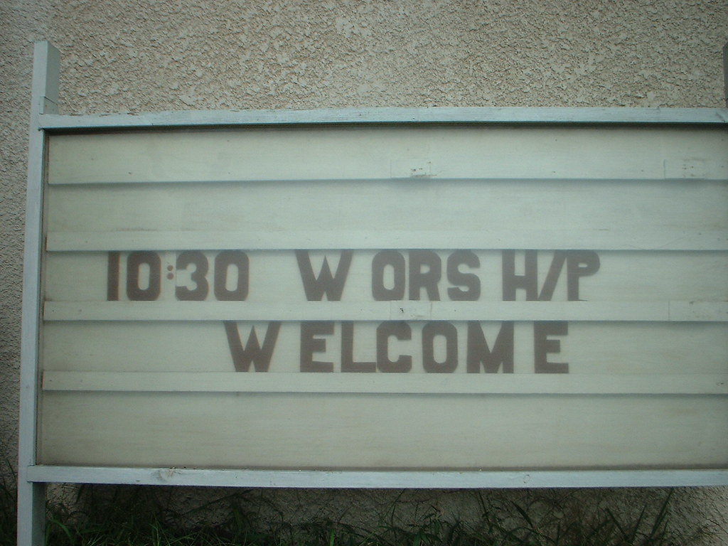 Church sign in Minneapolis circa 2002. Photo by Joshua Hardisty.