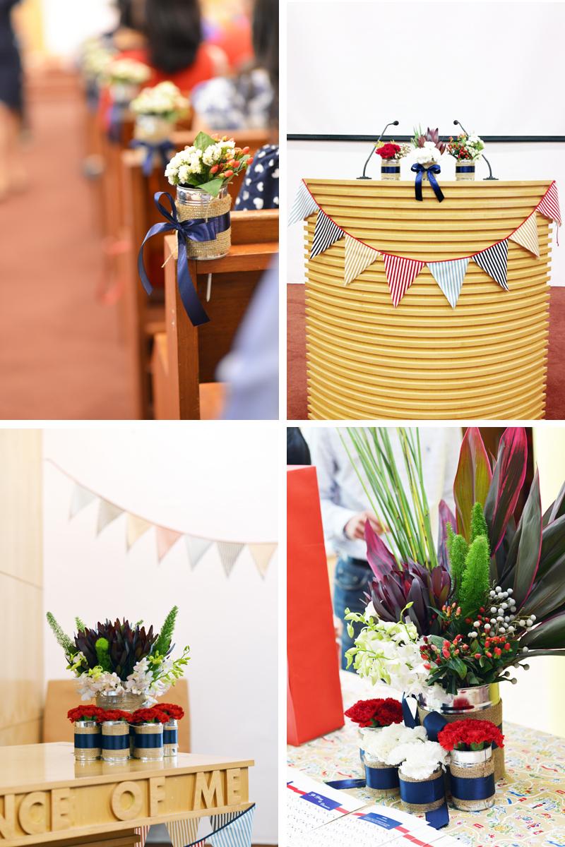 wedding flowers british theme navy blue red white