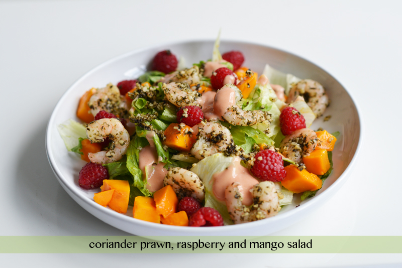 coriander prawn salad mango raspberry recipe cook singapore lunch ideas