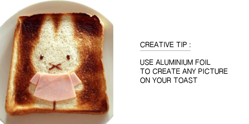 creative tip use aluminium foil to create pictures on toast