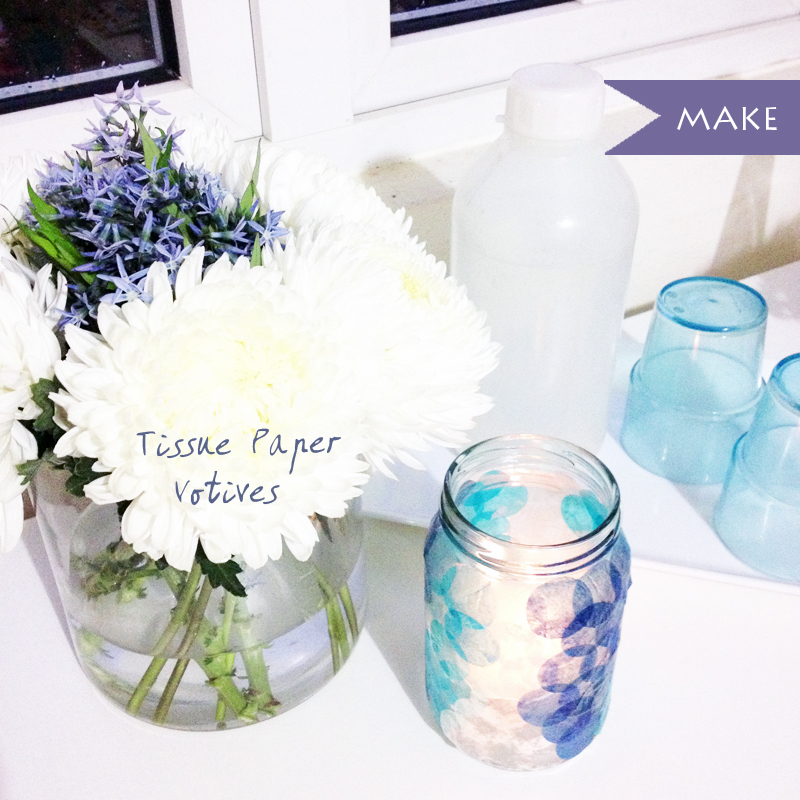 DIY tissue paper votives candle light jar circle paper punch