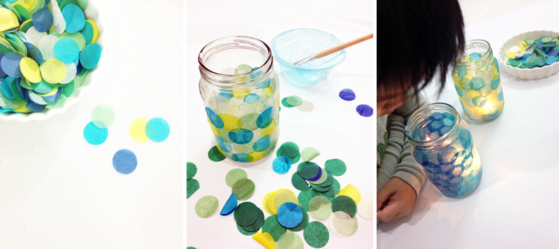 diy craft tissue paper votive circle paper punch