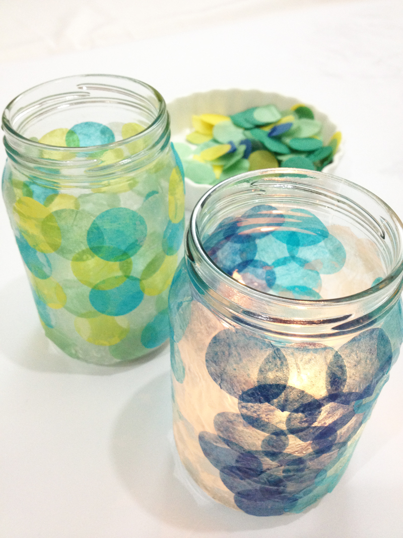 diy craft tissue paper votive candle light jar circle paper punch