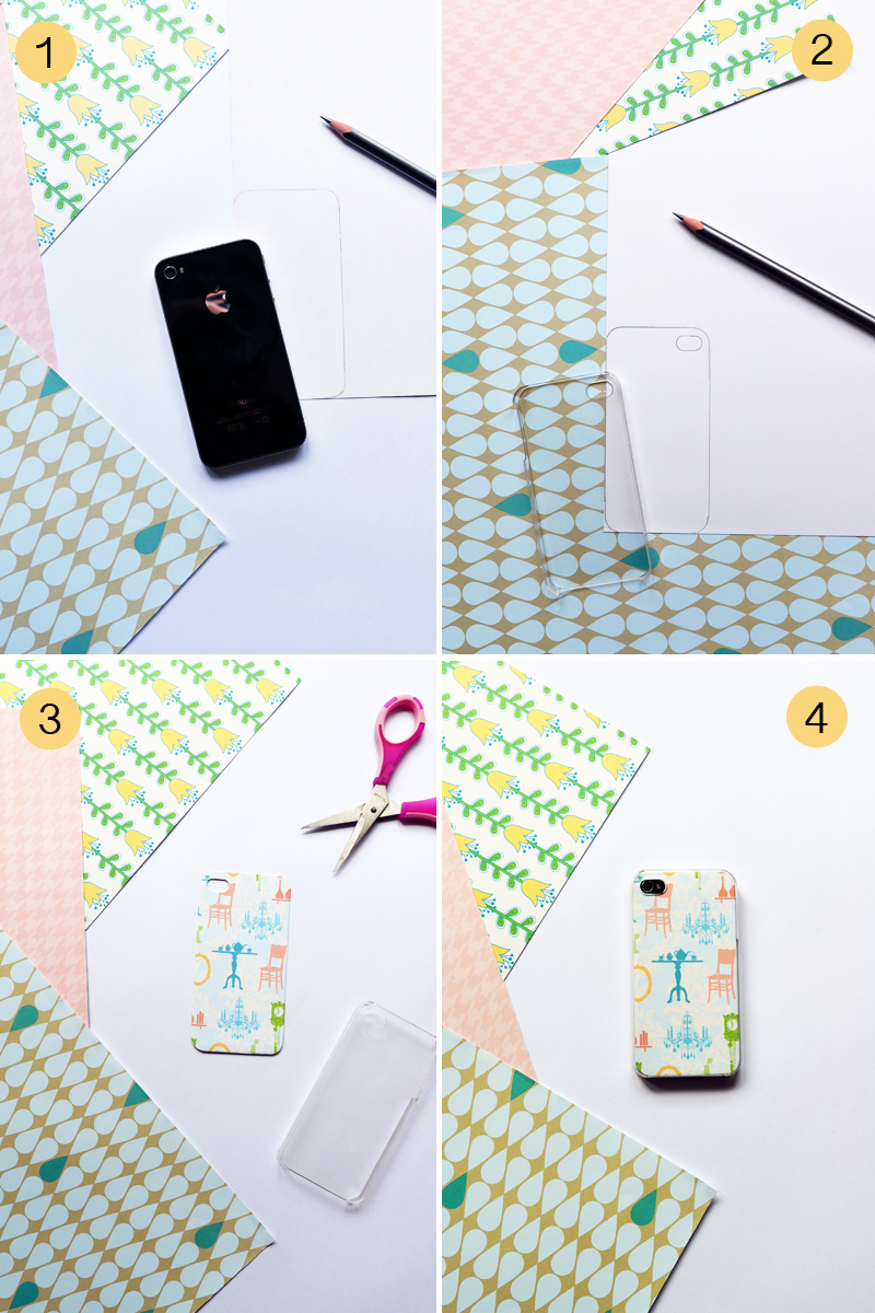 DIY Craft Tutorial :: Make Customisable iPhone Cover using Scrapbook/ Patterned/ Pretty Paper via www.scissorspaperstoneblog.com