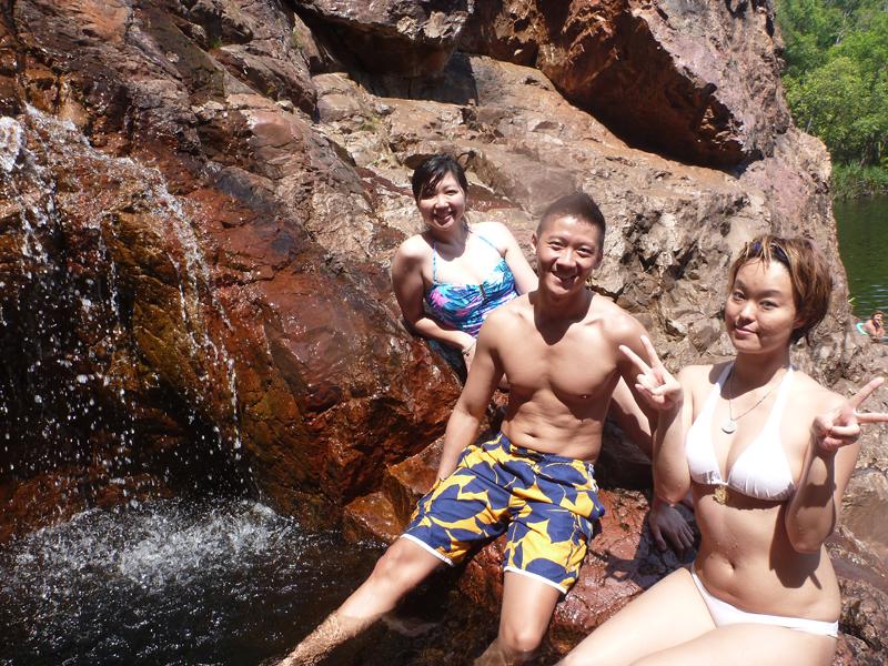 Ai, Leo and Sakura at the natural jacuzzi at Wangi Falls(Photo courtesy of Sakura of  www.ninjagirls.sg )