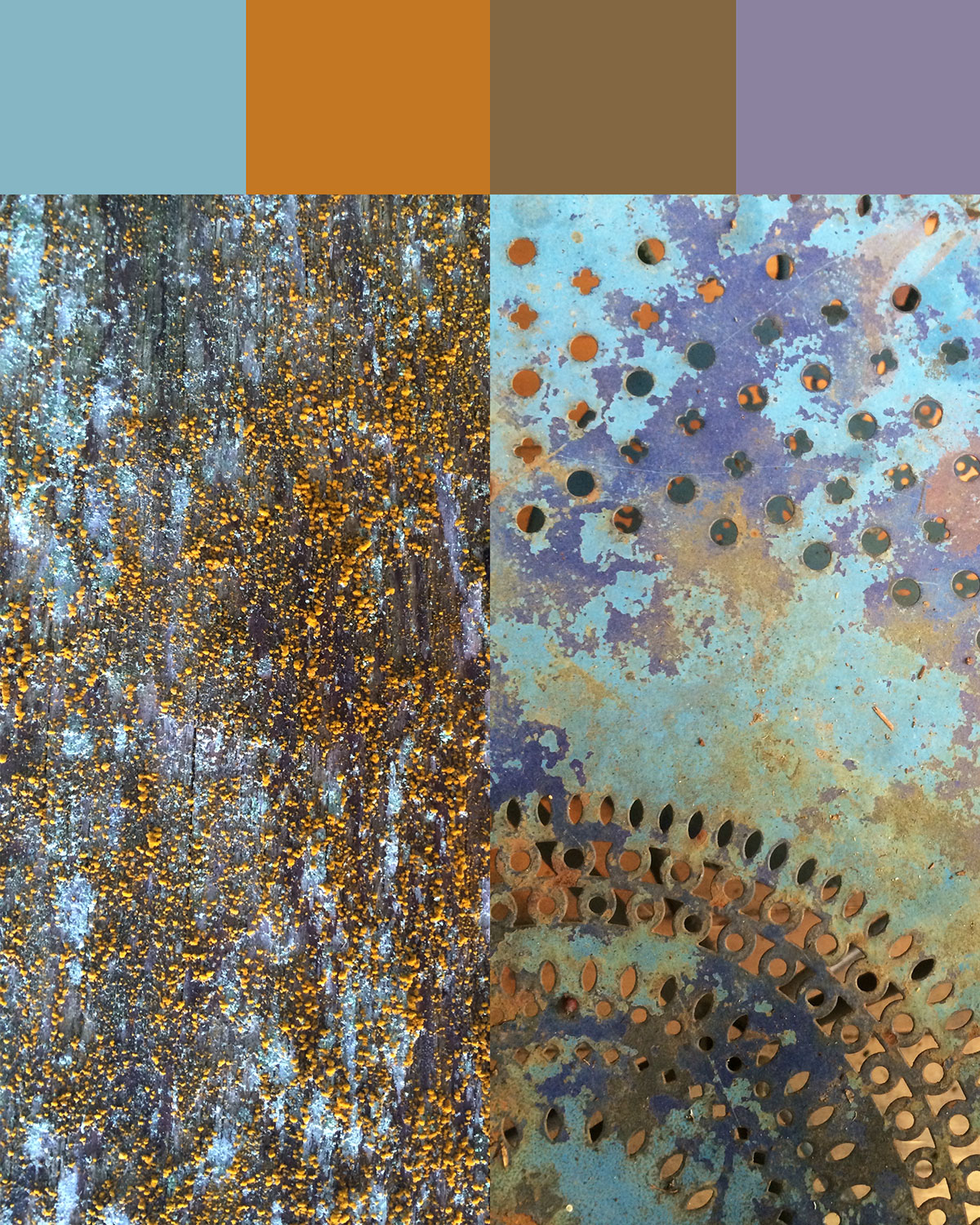 Lichens on wood & metal patio table with past colors and rust exposed by age.