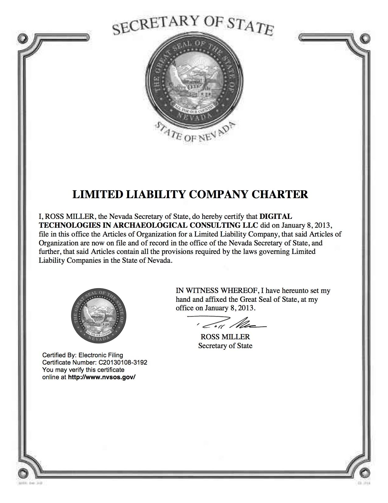 Nevada LLC Charter