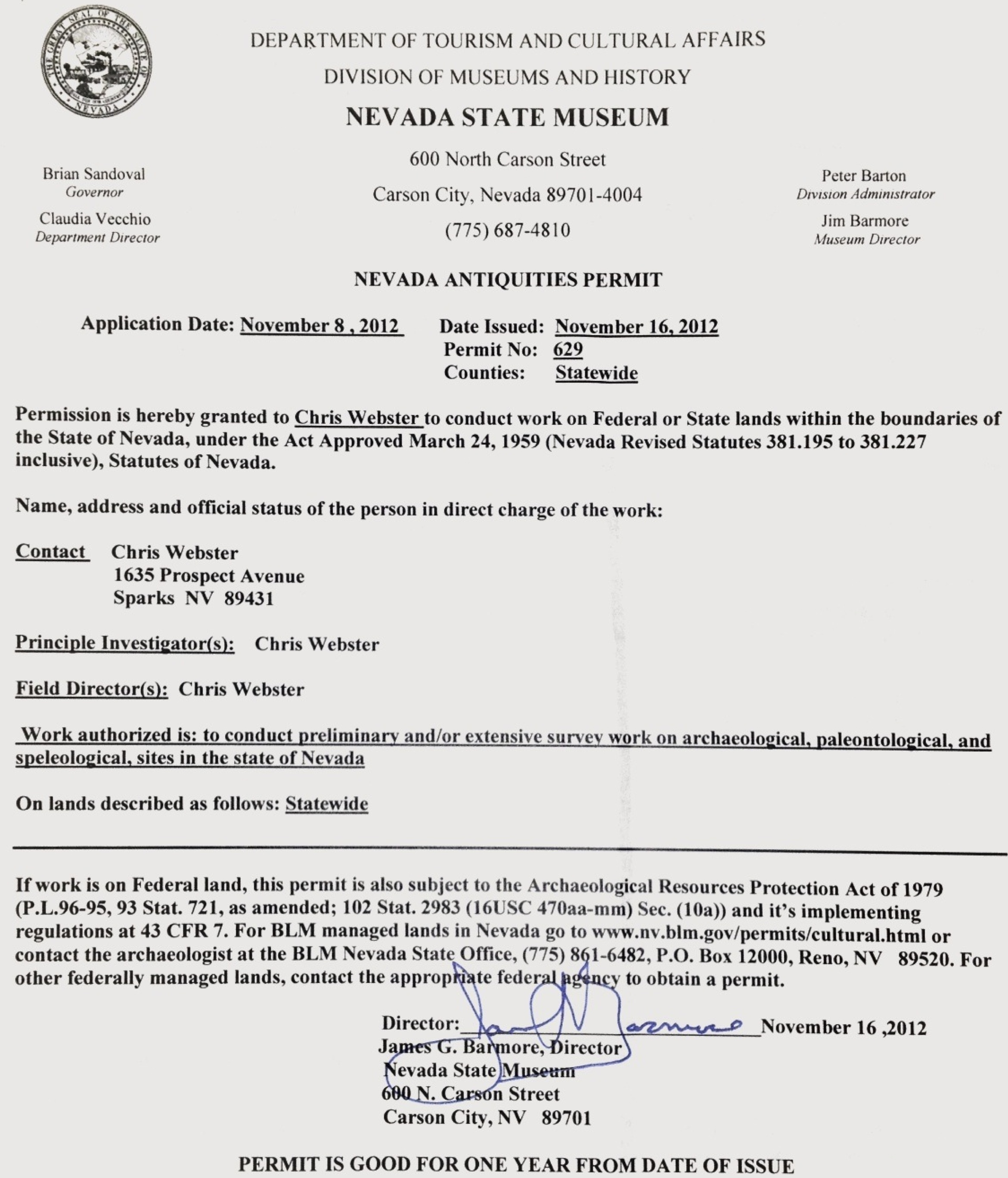 Nevada State Museum Antiquities Permit