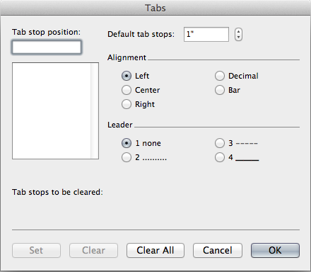 Tab Menu dialogue box