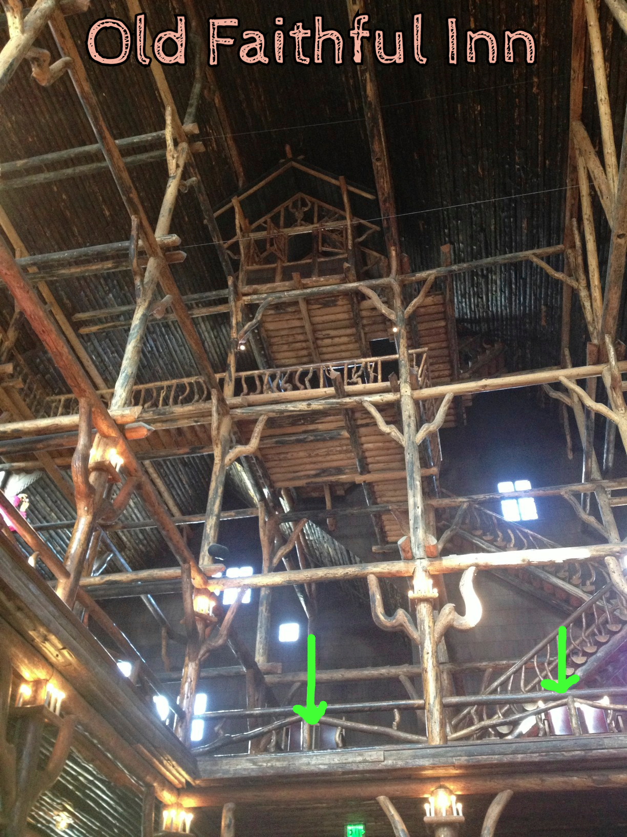 The interior of the Old Faithful Inn. See the chairs on the second floor (bottom of pic). They were all around the railing. I worked from here a few times. Not too bad!
