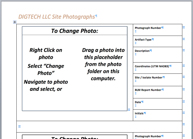 Figure: The merge form for photo pages. The page is a table and the lines are only there so you can see that. For the final form the lines are removed. Using a table ensures that everything is uniform and in its place.