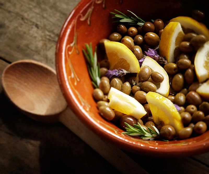 Marinated lemon and rosemary home cured olives.