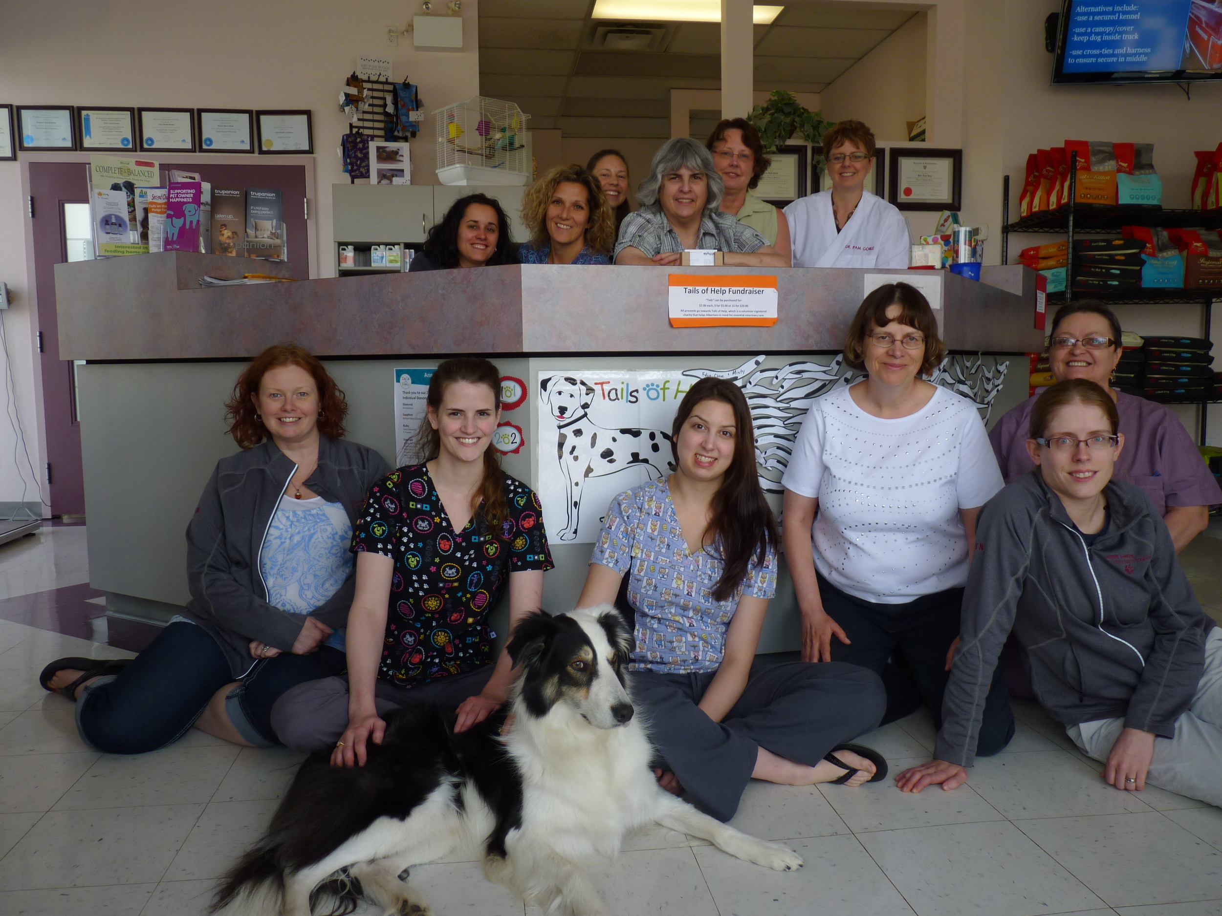 The team at the Town Centre Veterinary Hospital celebrate their 202 Tails campaign success