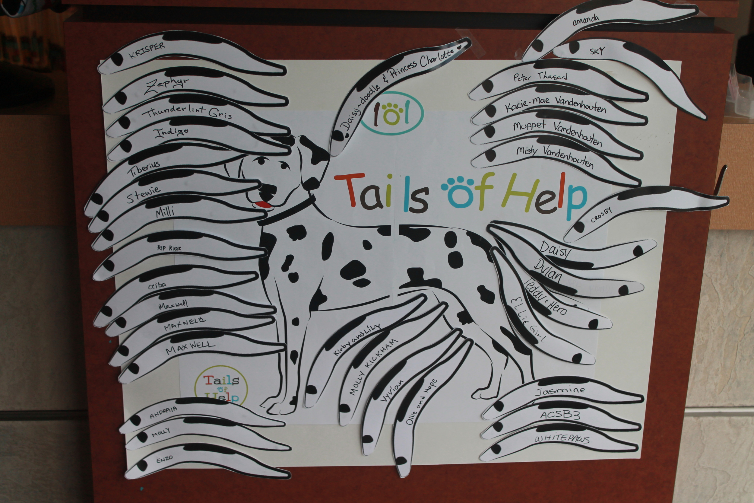 the display at terwillegar VEterinary Clinic became very crowded with 202 tails campaign donations