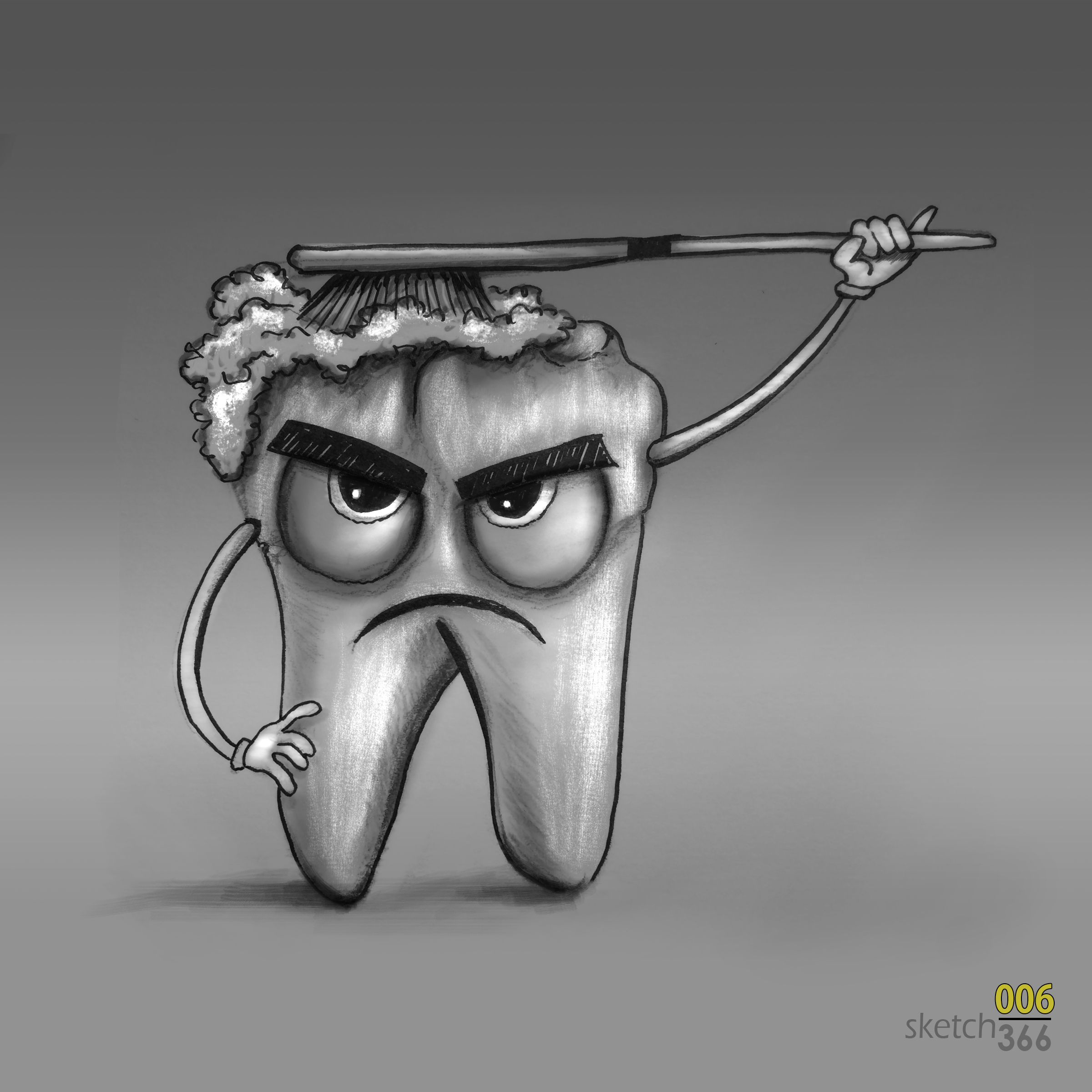 Grouchy toothman - pencil/marker/photoshop