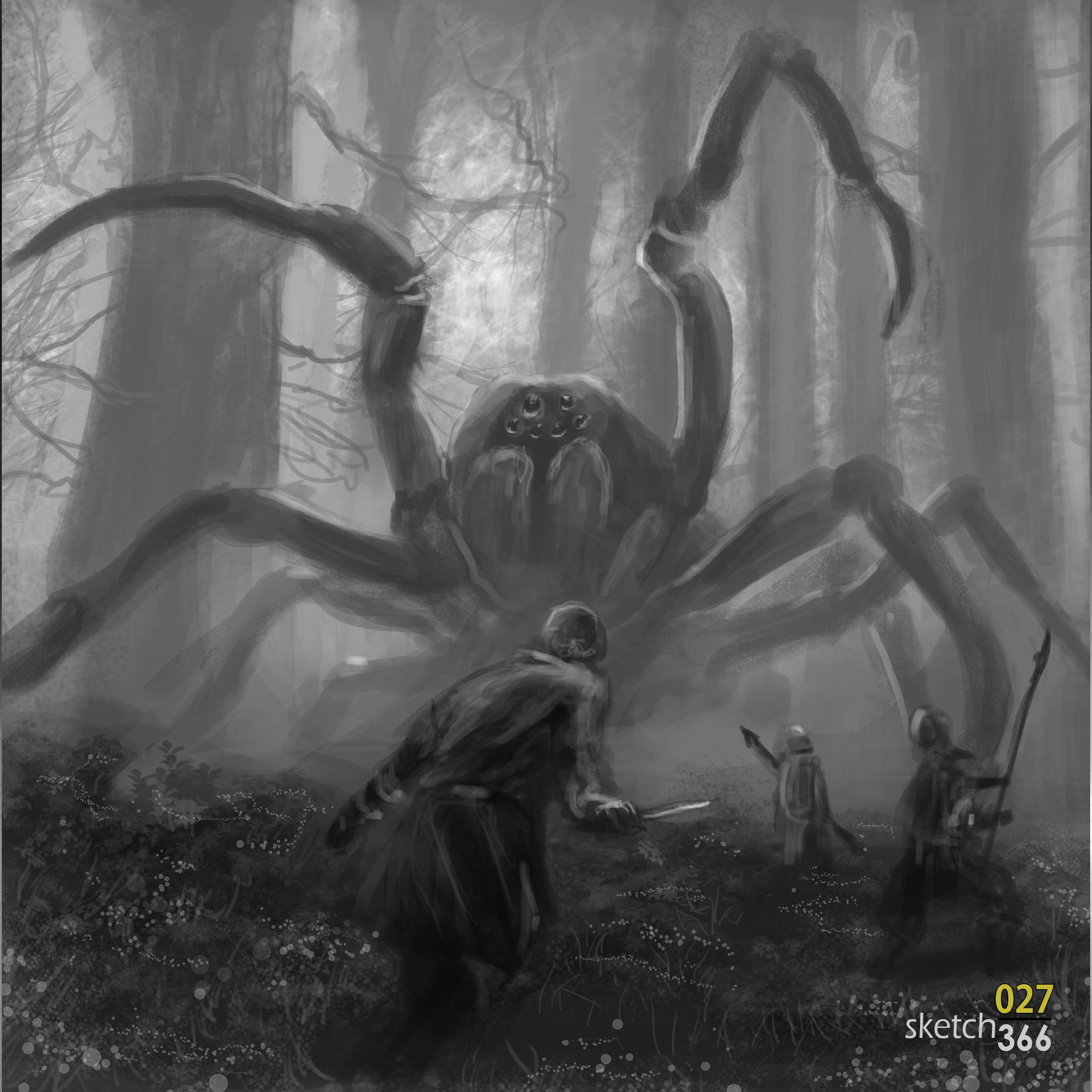 "Jaime Jones ""big spider"" master study - composition & value - digital paint"