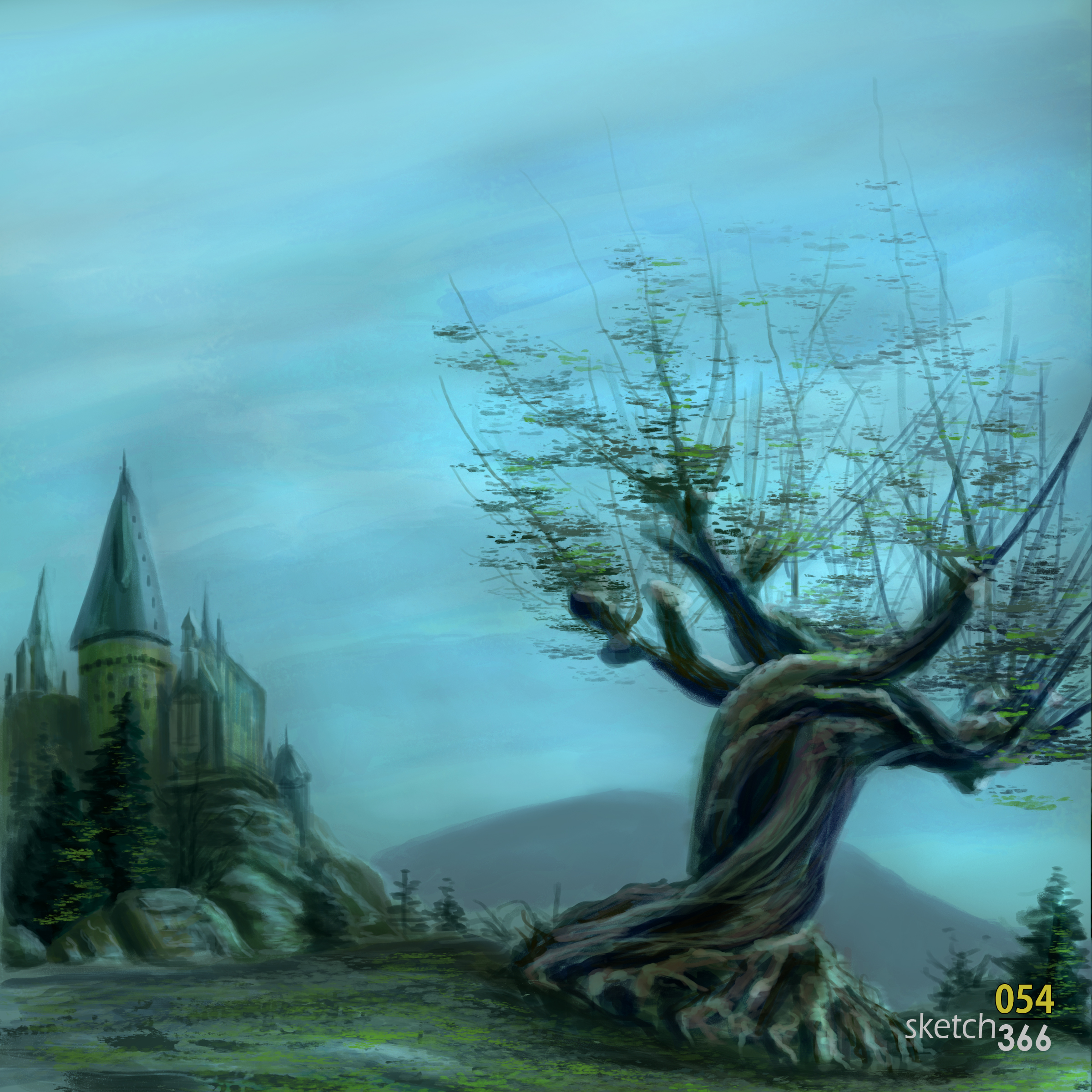 whomping willow spring - digital paint
