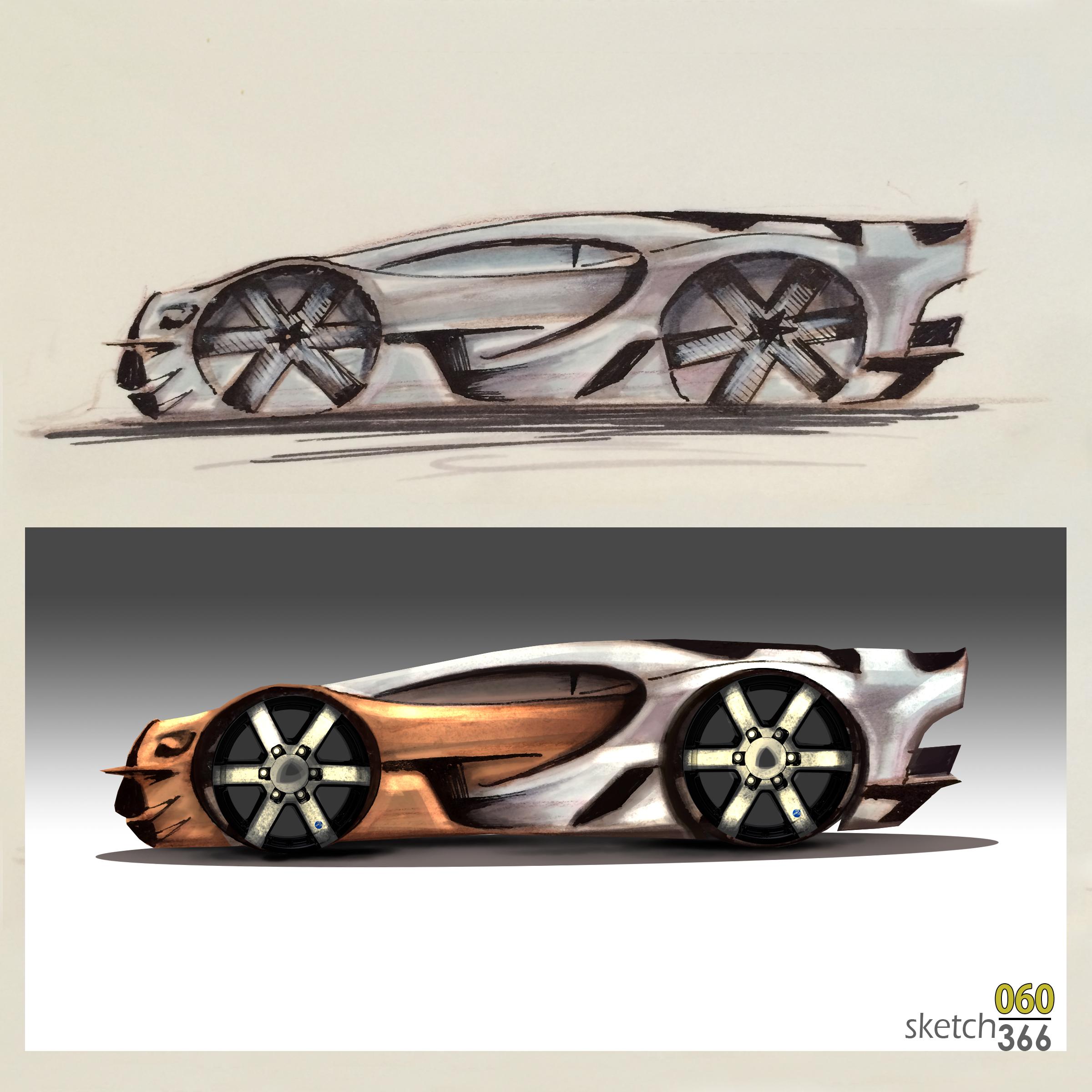 bugati concept sketch - pencil/marker/digital paint