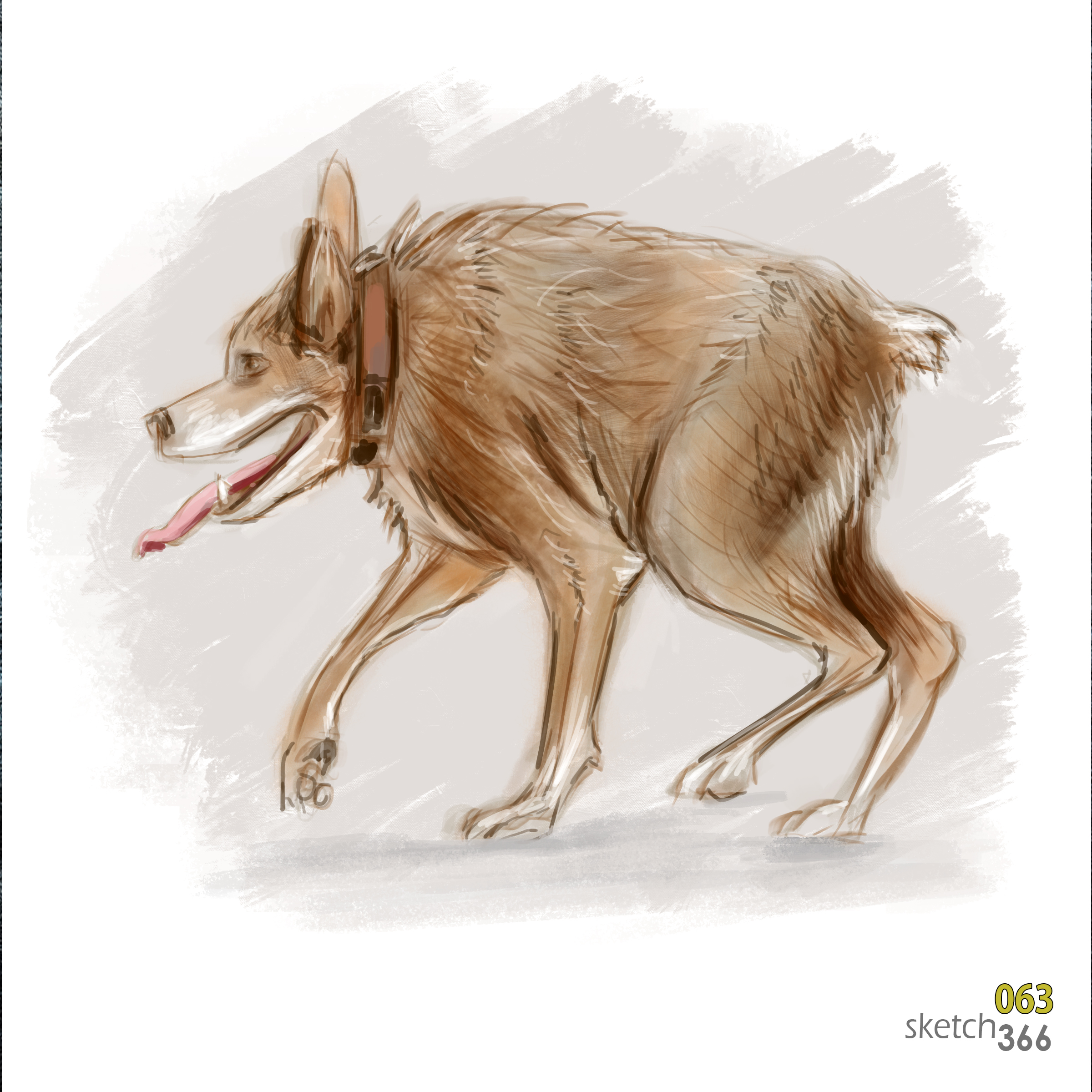 hunch-back dog - digital paint