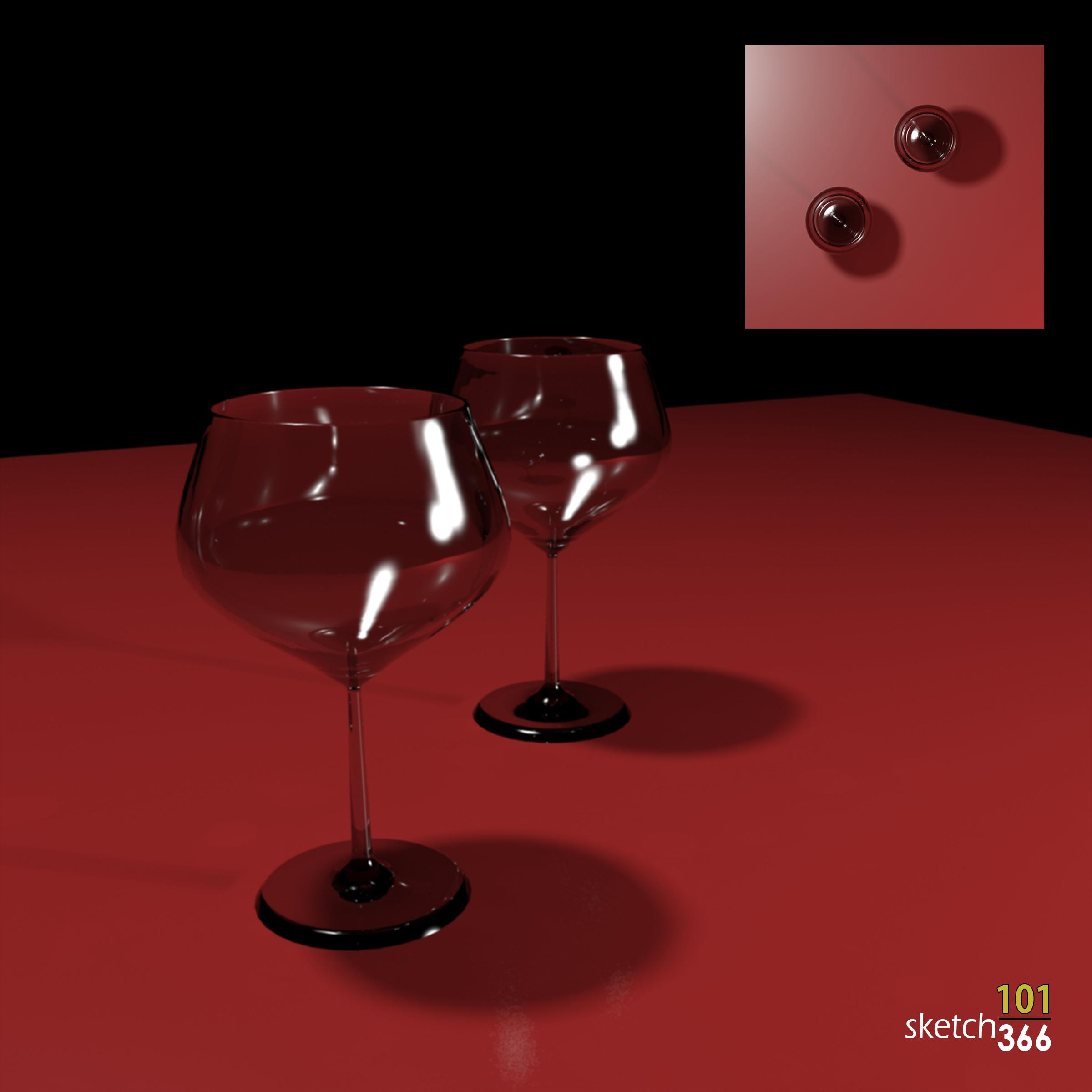 wine glasses - 3ds max