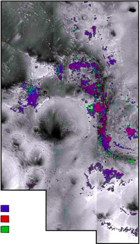 Figure 4. OMEGA hyper-spectrometer overlay. Data recorded from Mars Express orbiter. Blue spec is hydrous mineral pockets. Red spec is rich deposits of Fe & Mg smectites (nontronite). Green spec is rich deposits of Al smectites (montmorillonite). Figure derived from (Loizeau et al. 2007).