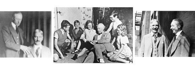 Alexander com o aluno e amigo John Dewey e Alunos de sua Little School, na Inglaterra