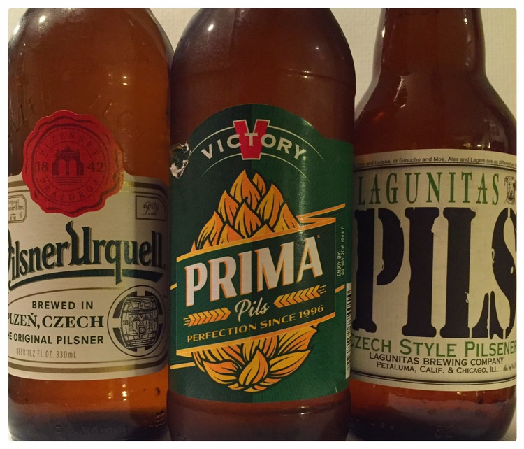 Three pilsners - the subject of an imprompt tasting