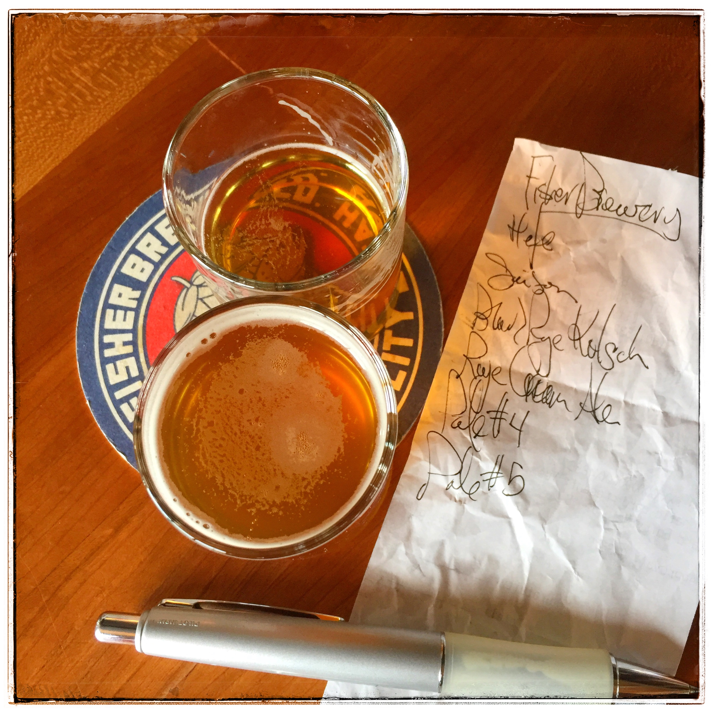 A. Fisher Brewing - My tasting list for my stay at Fisher.