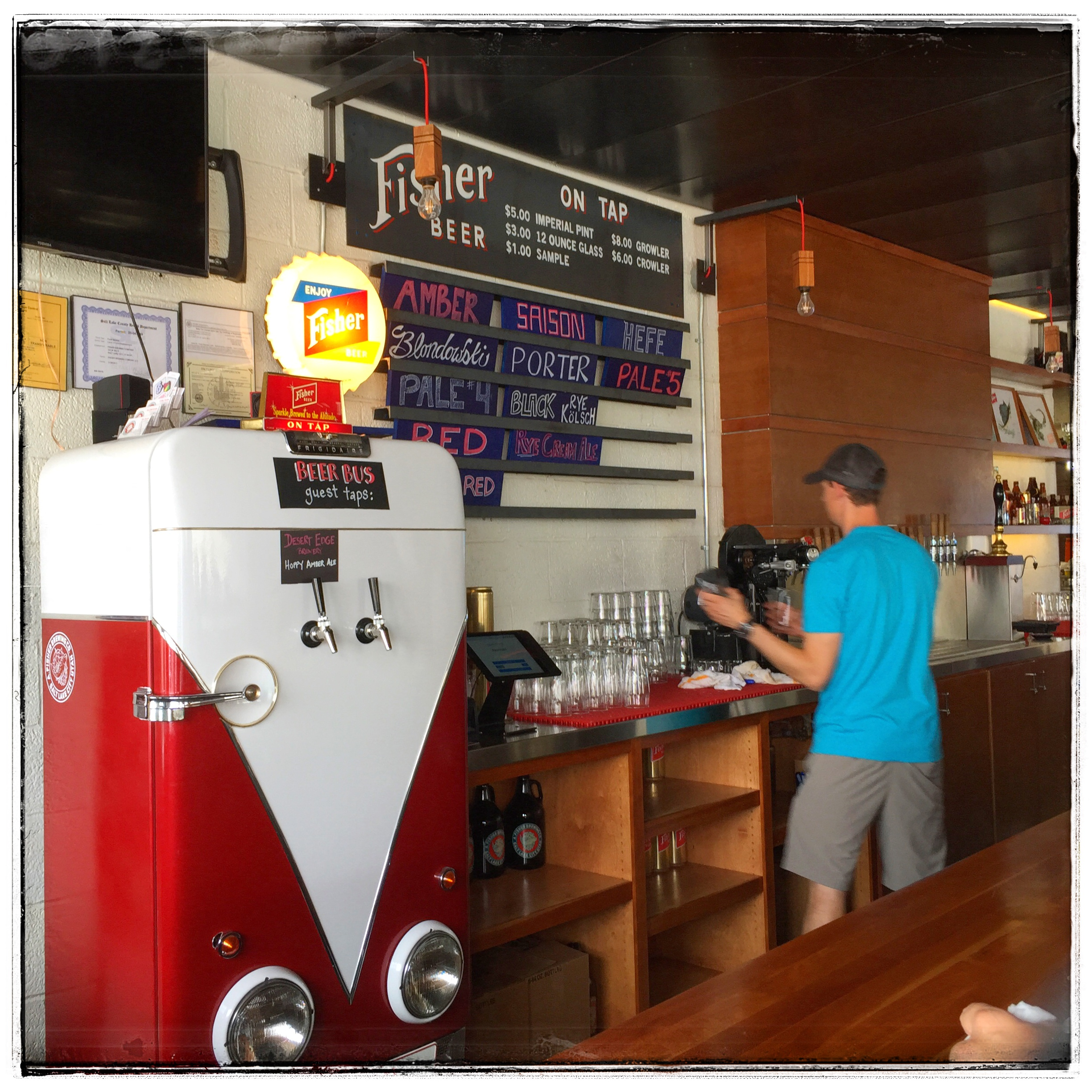 Fisher Brewing - The taproom is minalmallist with a lot of character.