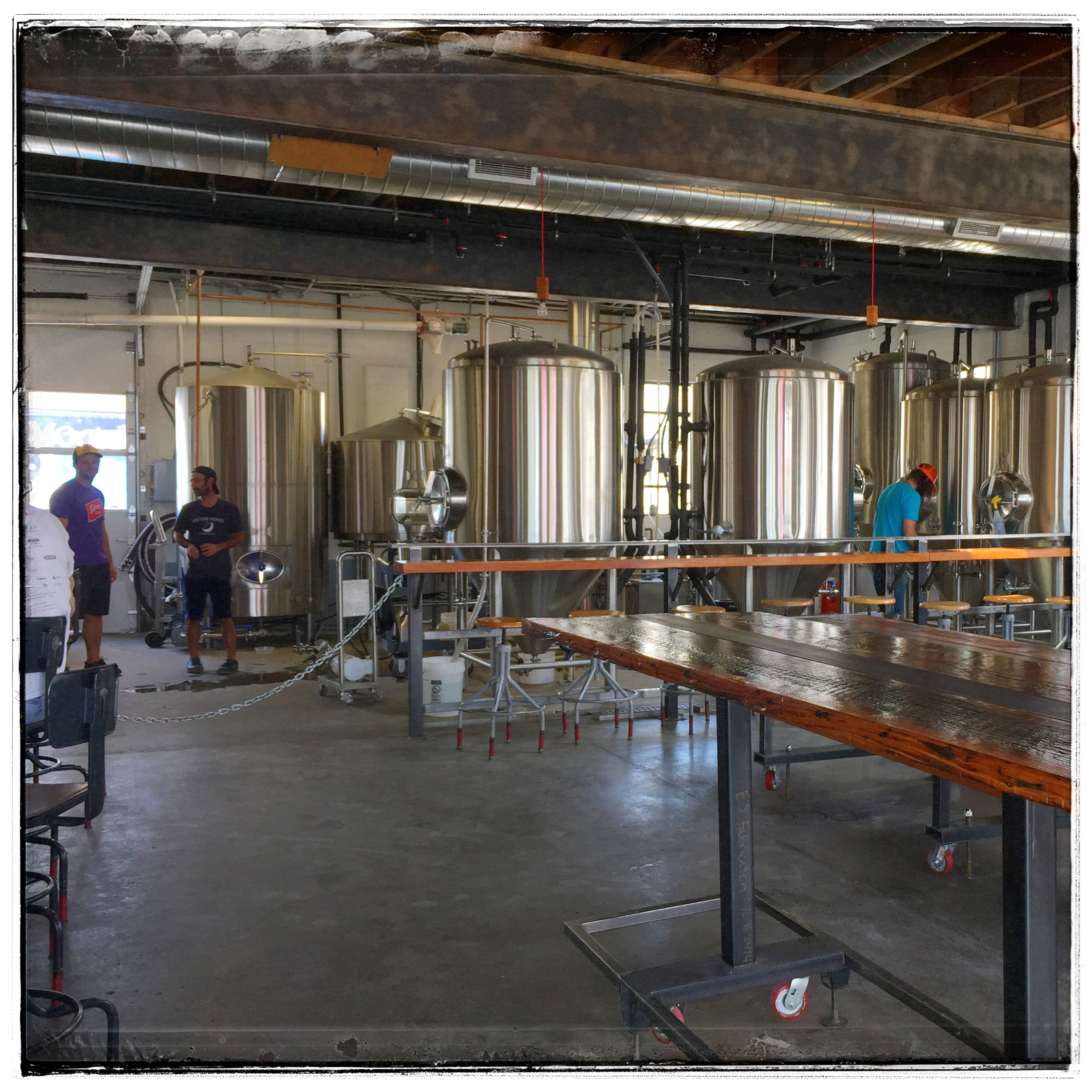 Fisher's Taproom - The taproom shares the space with the brewing tanks.