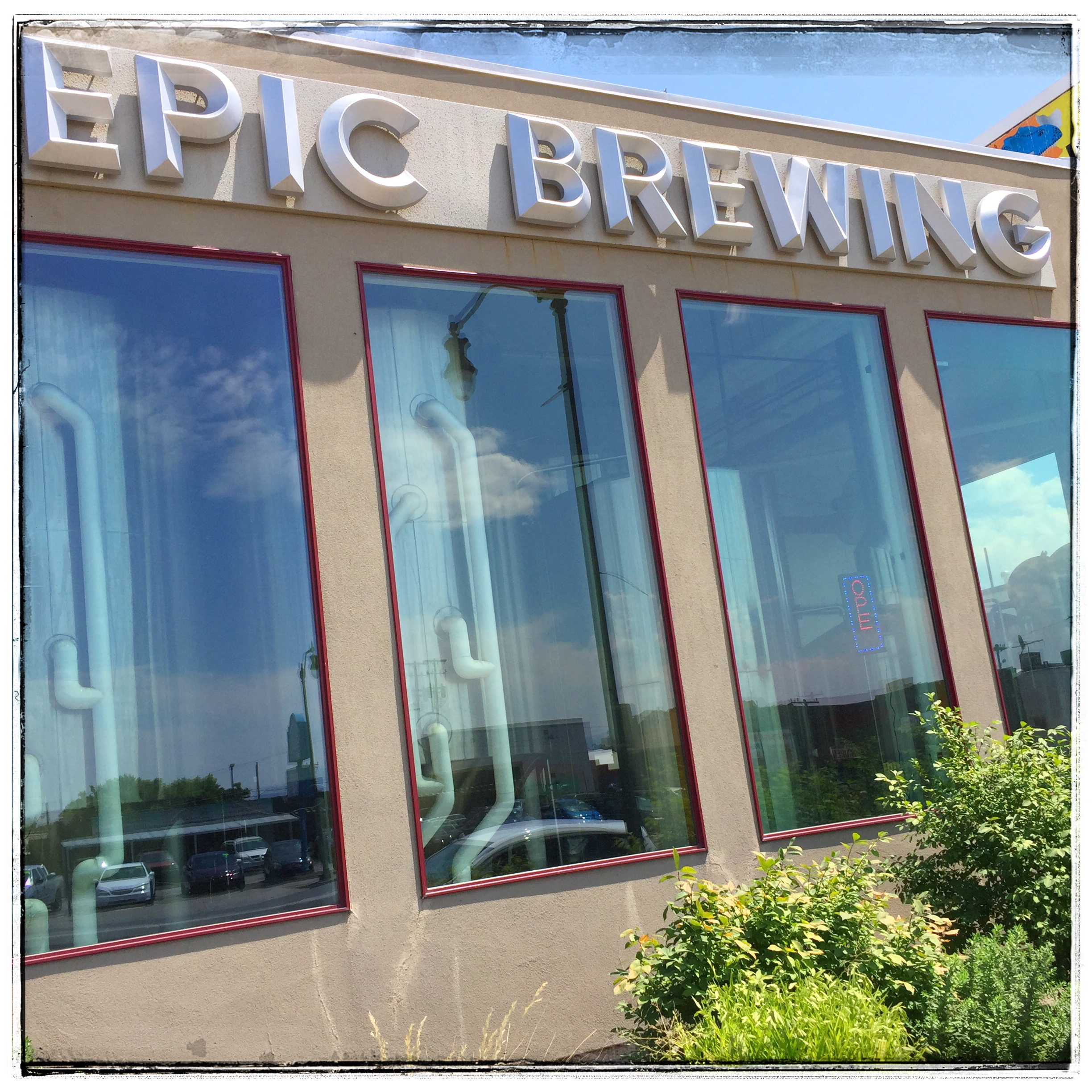 Epic Brewing - Looks at the brewing equipment from the street.