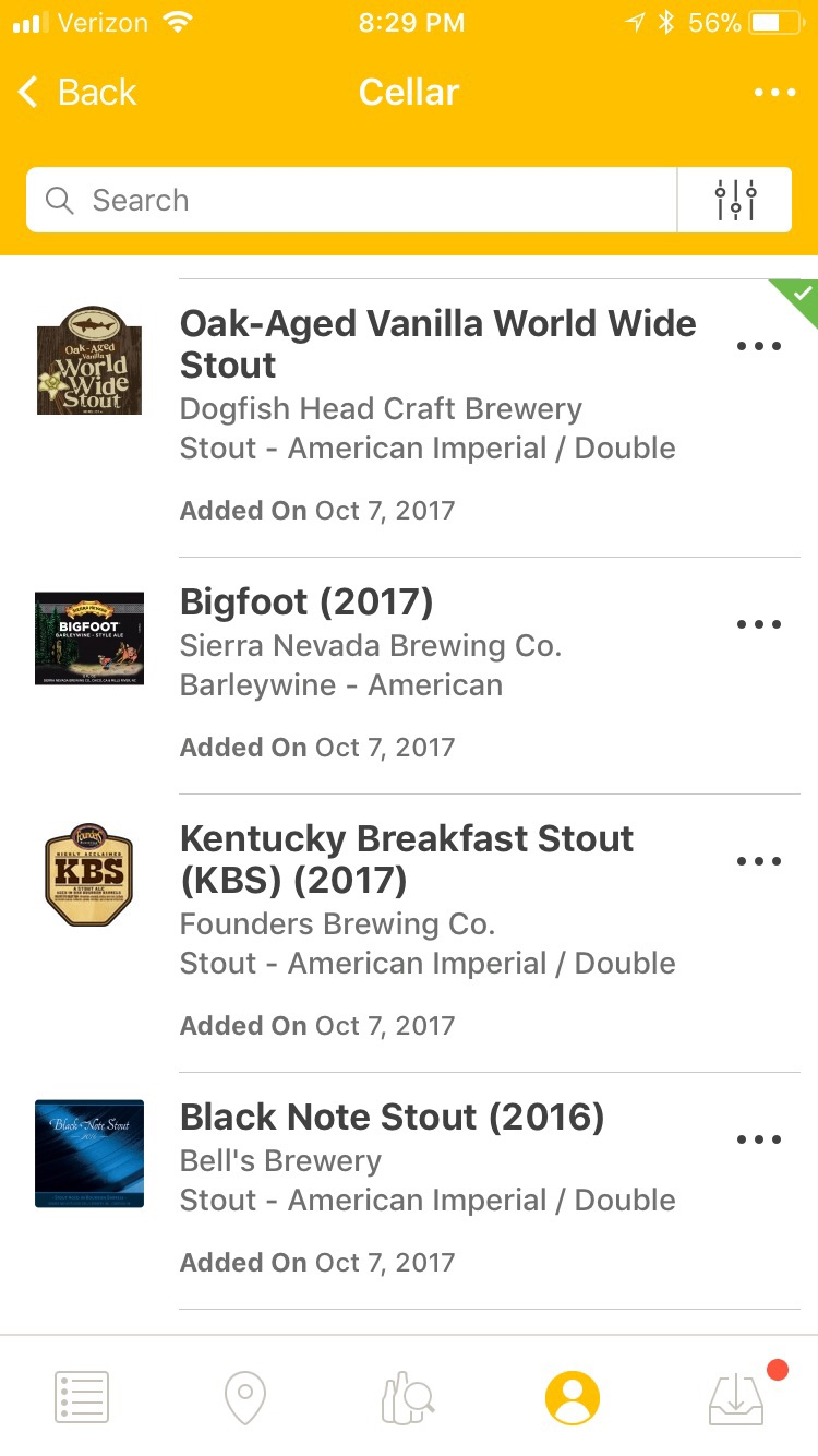 Viewing a List - You can scroll through your Cellar beer list and perform a search using filters.