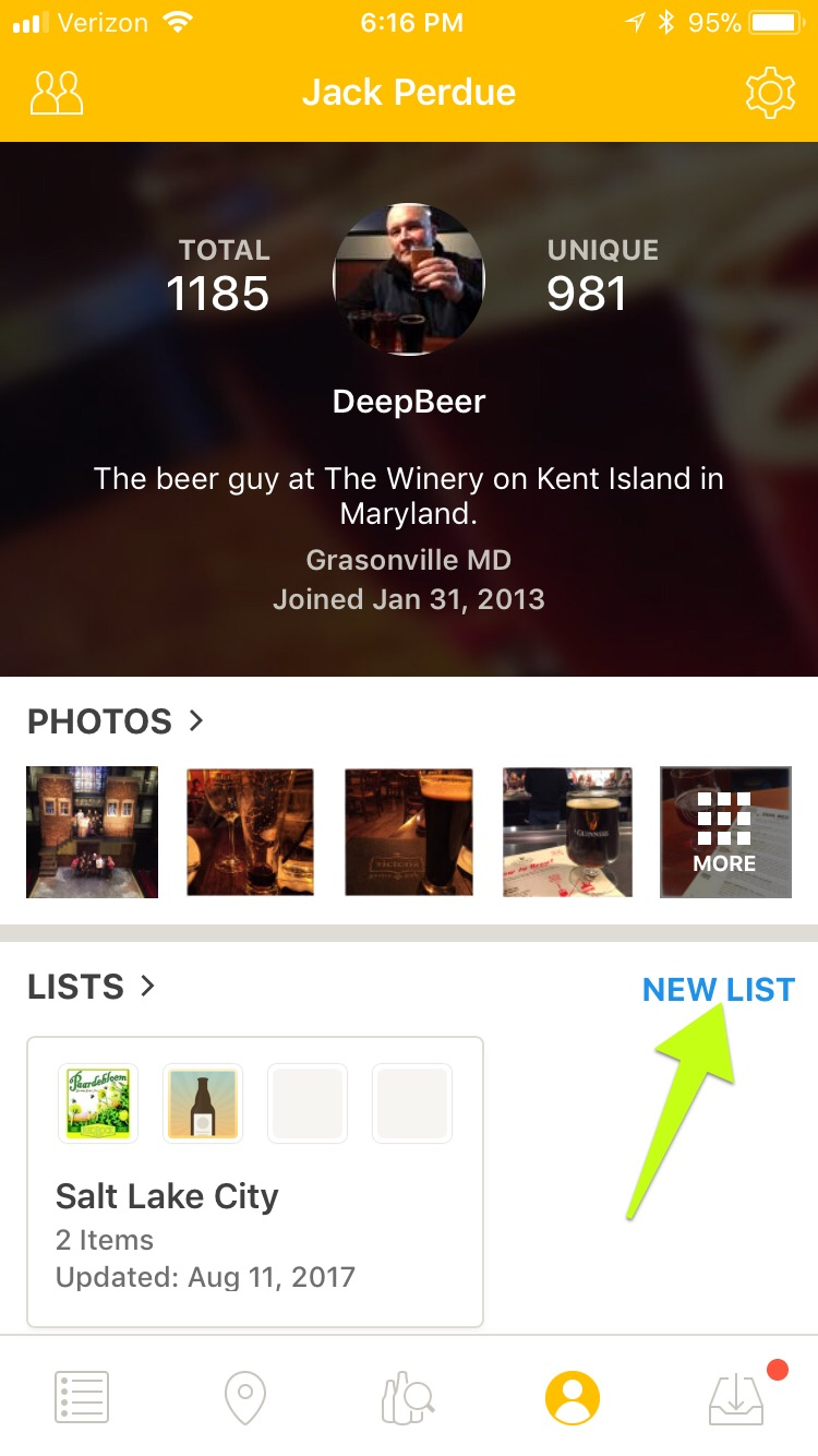 Untappd Lists - From your Untappd Profile page you will find Photos, Lists, Badges and Recent Activity. Along the right margin you will see NEW LIST. Choose this to begin setting up your Cellar List.