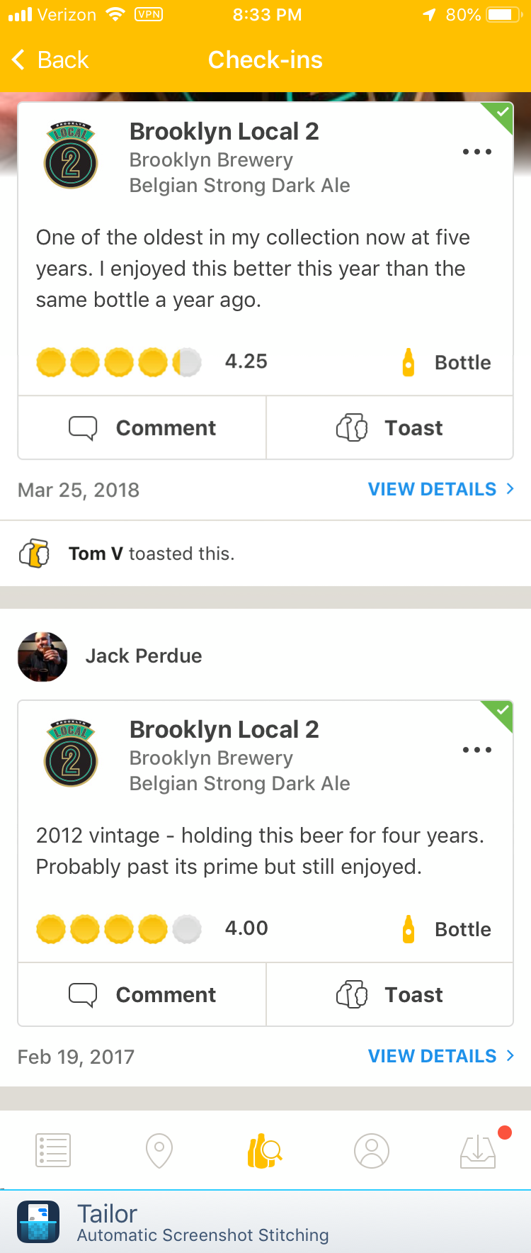 Tasting notes - As you drink beers in your Cellar List you can make notes on how the beer tasted and how well it developed during it's cellaring time.