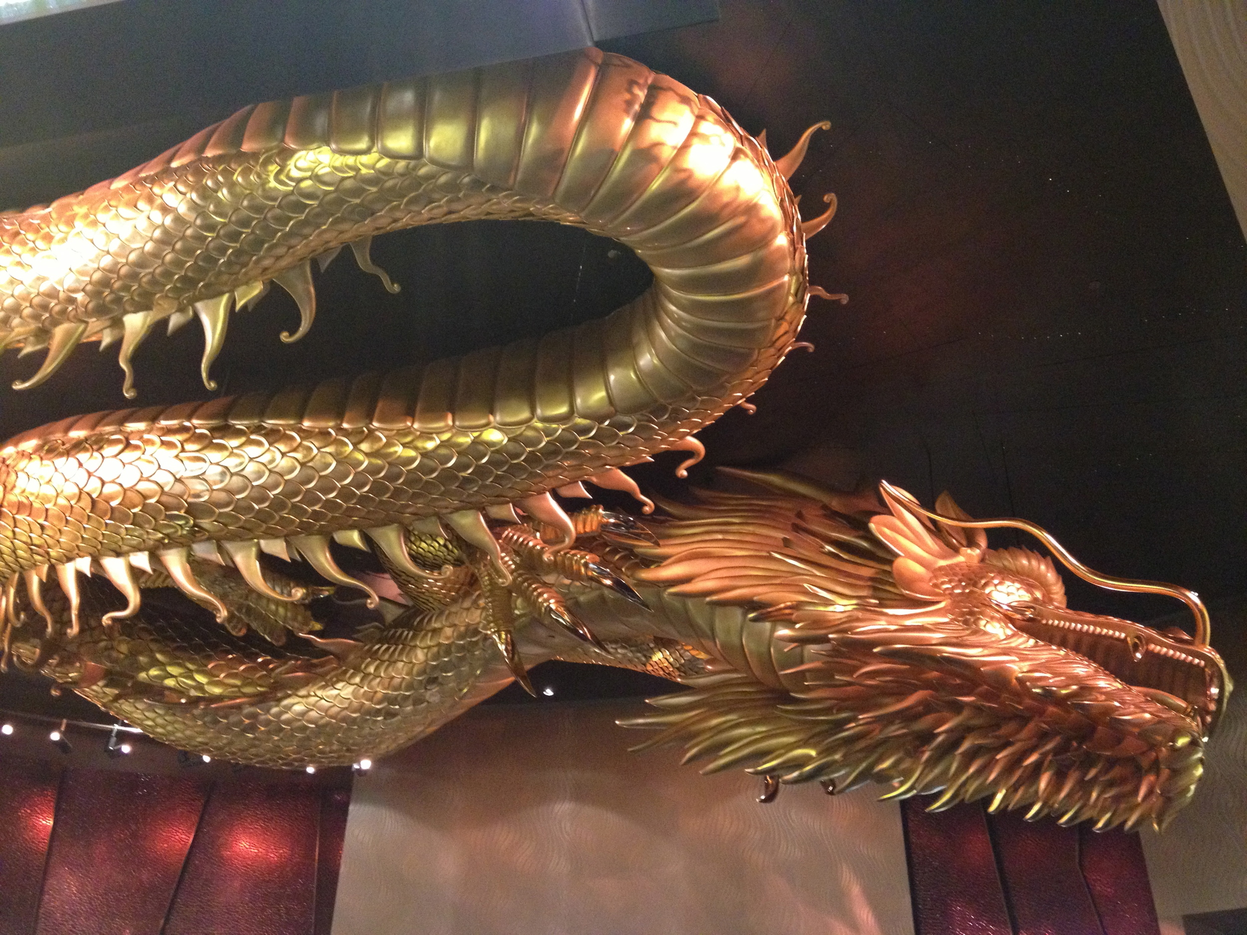 Golden dragon in Ceiling of the Hard Rock Casino entry - Macau