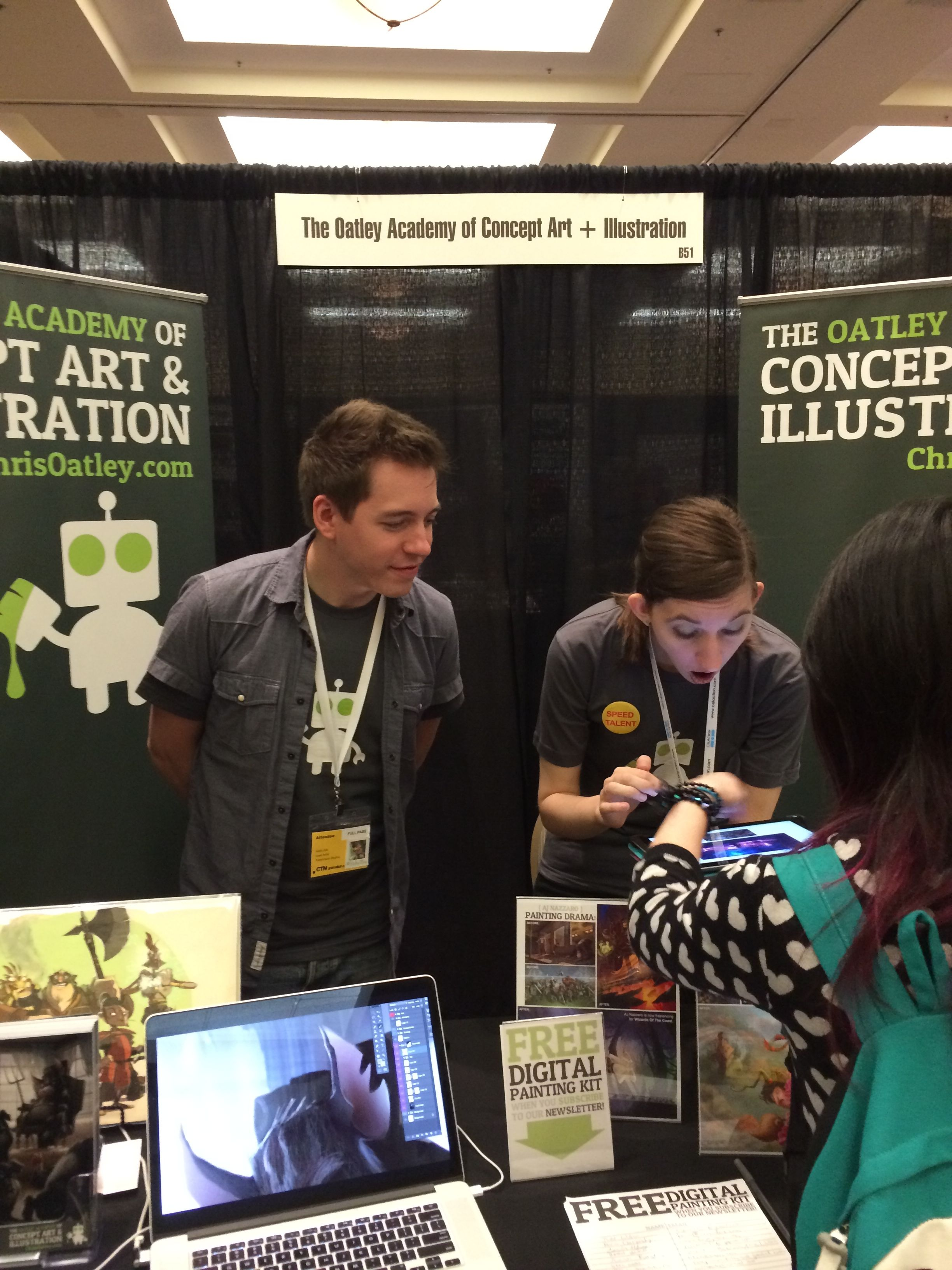 Behind the Oatley Academy booth (with    Rebecca   Black-Gliko    looking mighty astonished)