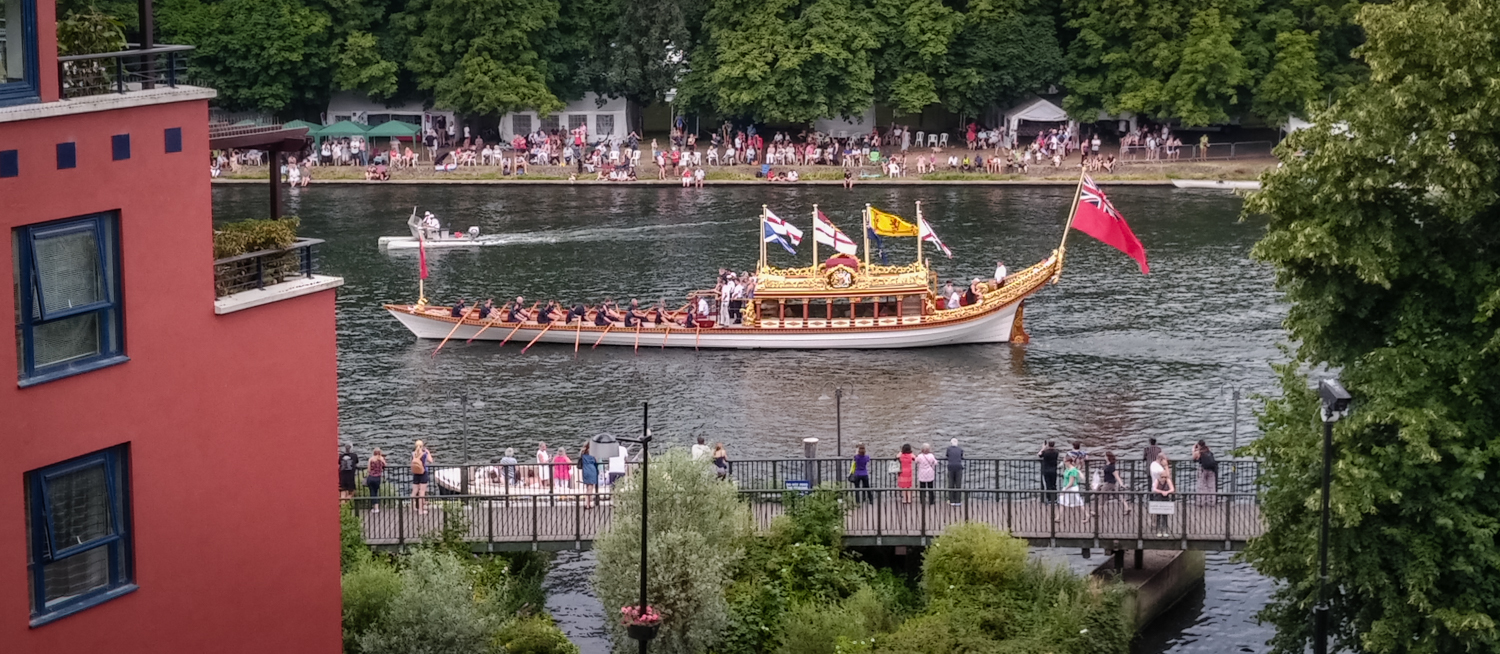 In modern times: The Royal barge Gloriana attends Kingston's historic Regatta, the oldest regatta in the UK, established in 1857.
