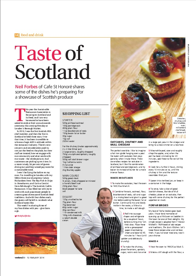 Neil shared his recipes in the Scotsman
