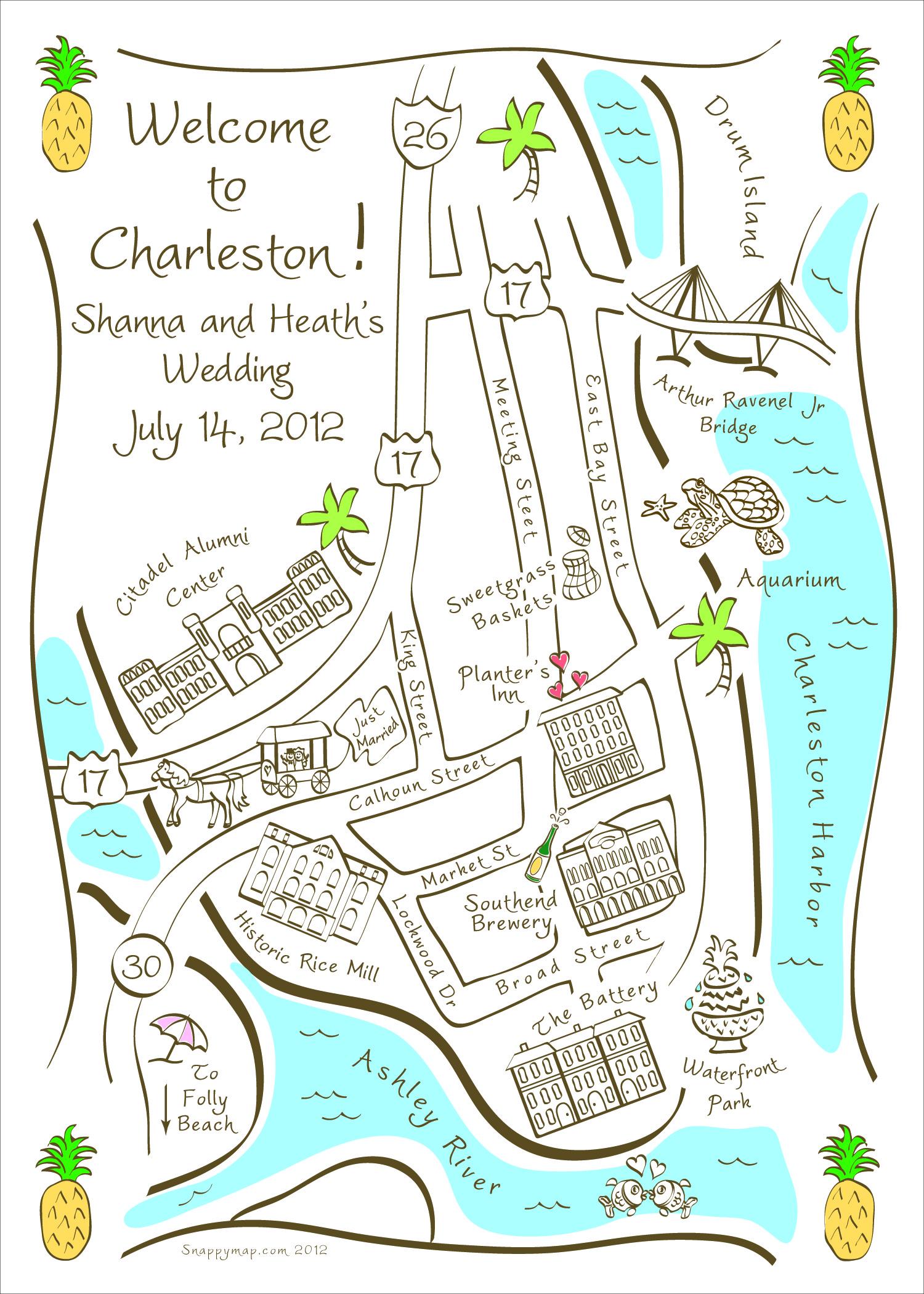 Hand Drawn Map Charleston