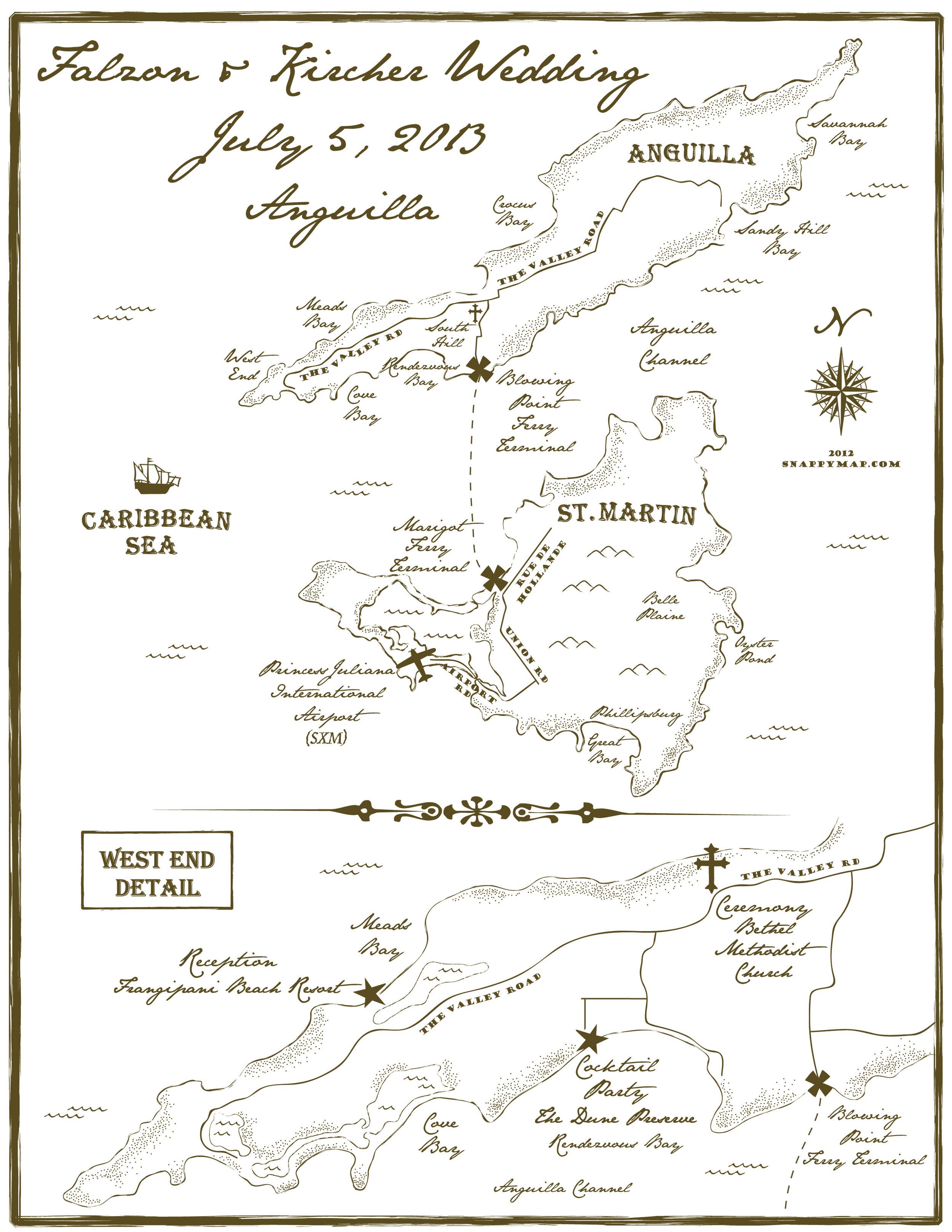 Hand Drawn Map Anguilla