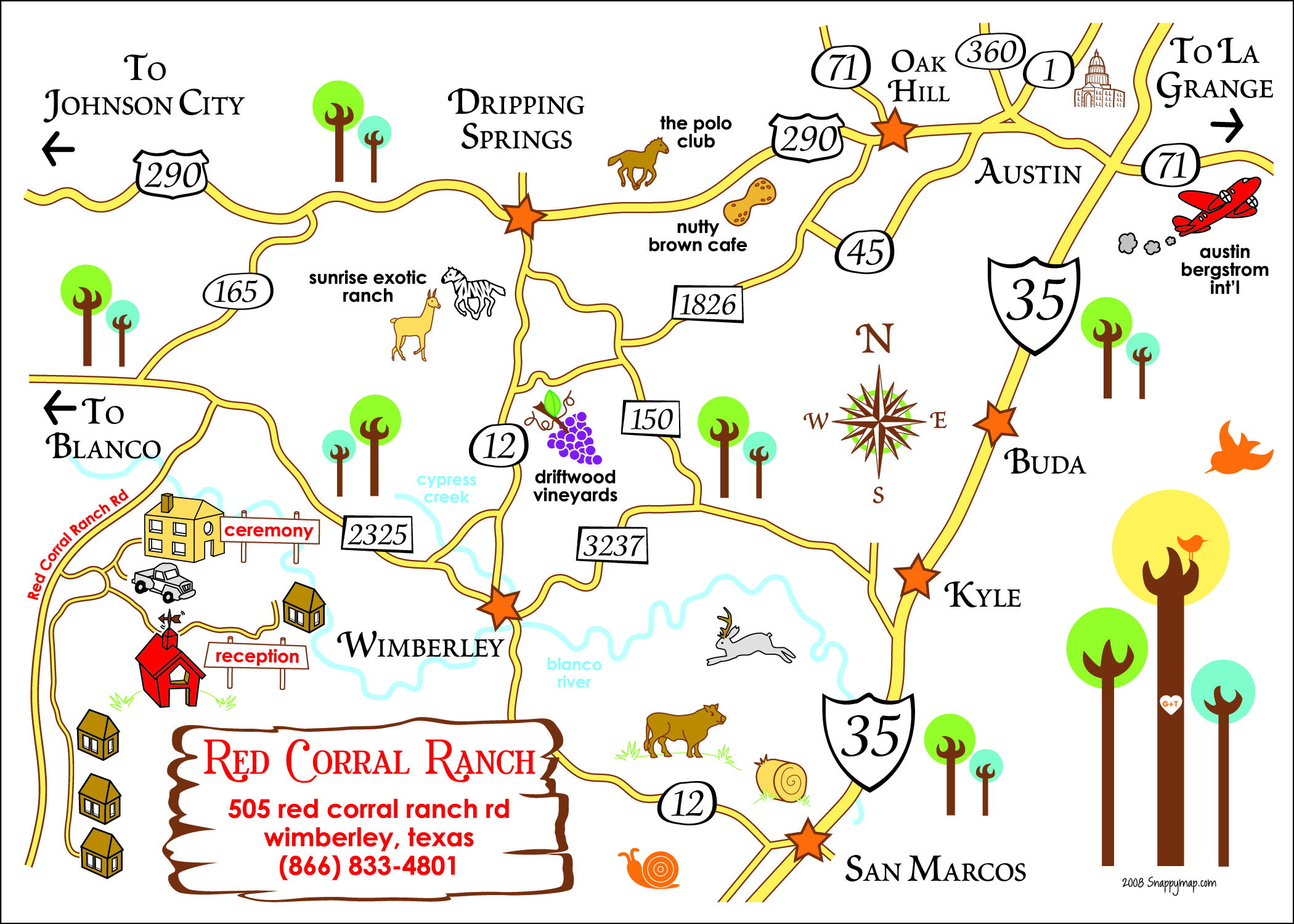 Fun Wedding Map Texas Hill Country