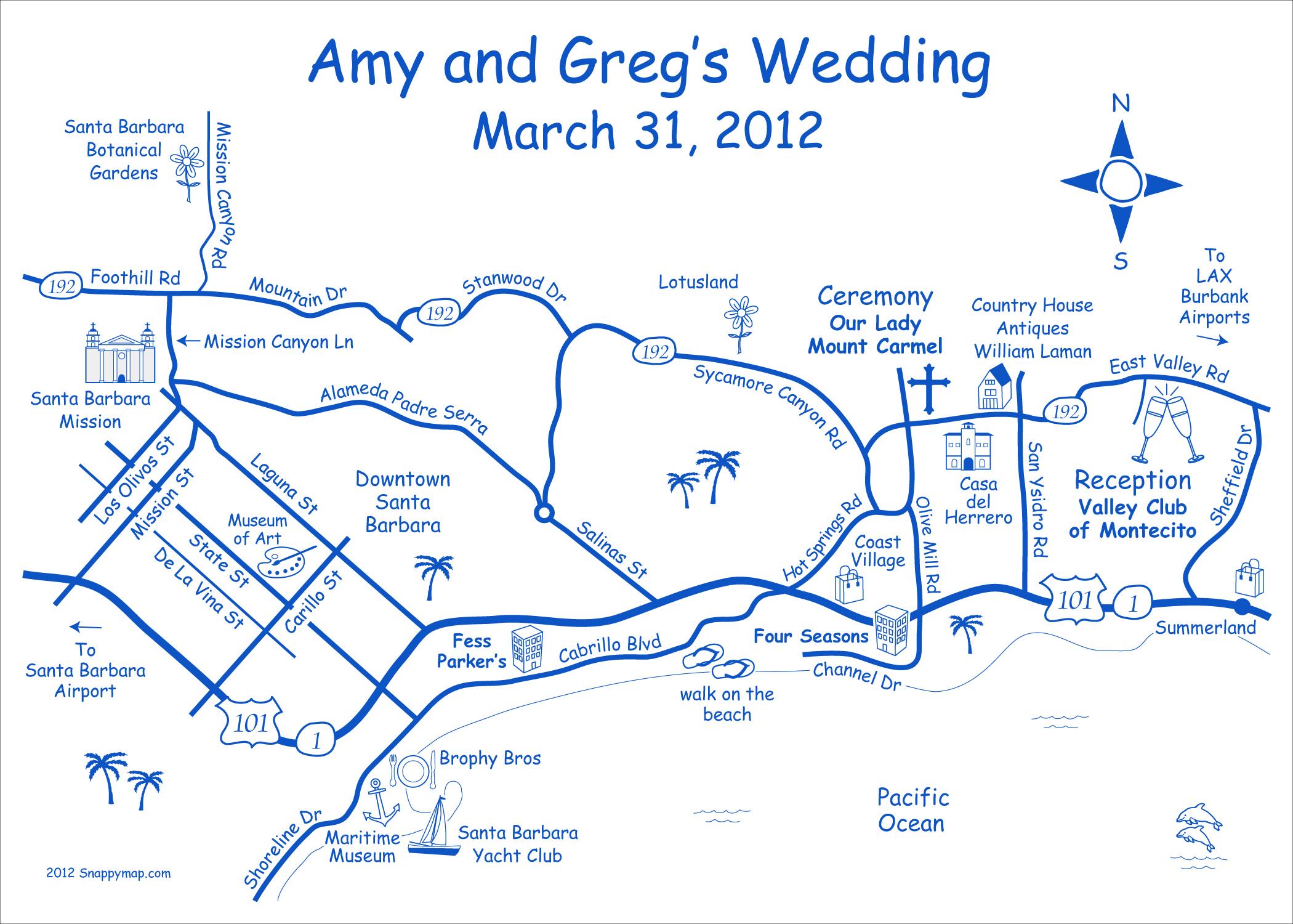 Fun Wedding Map Santa Barbara