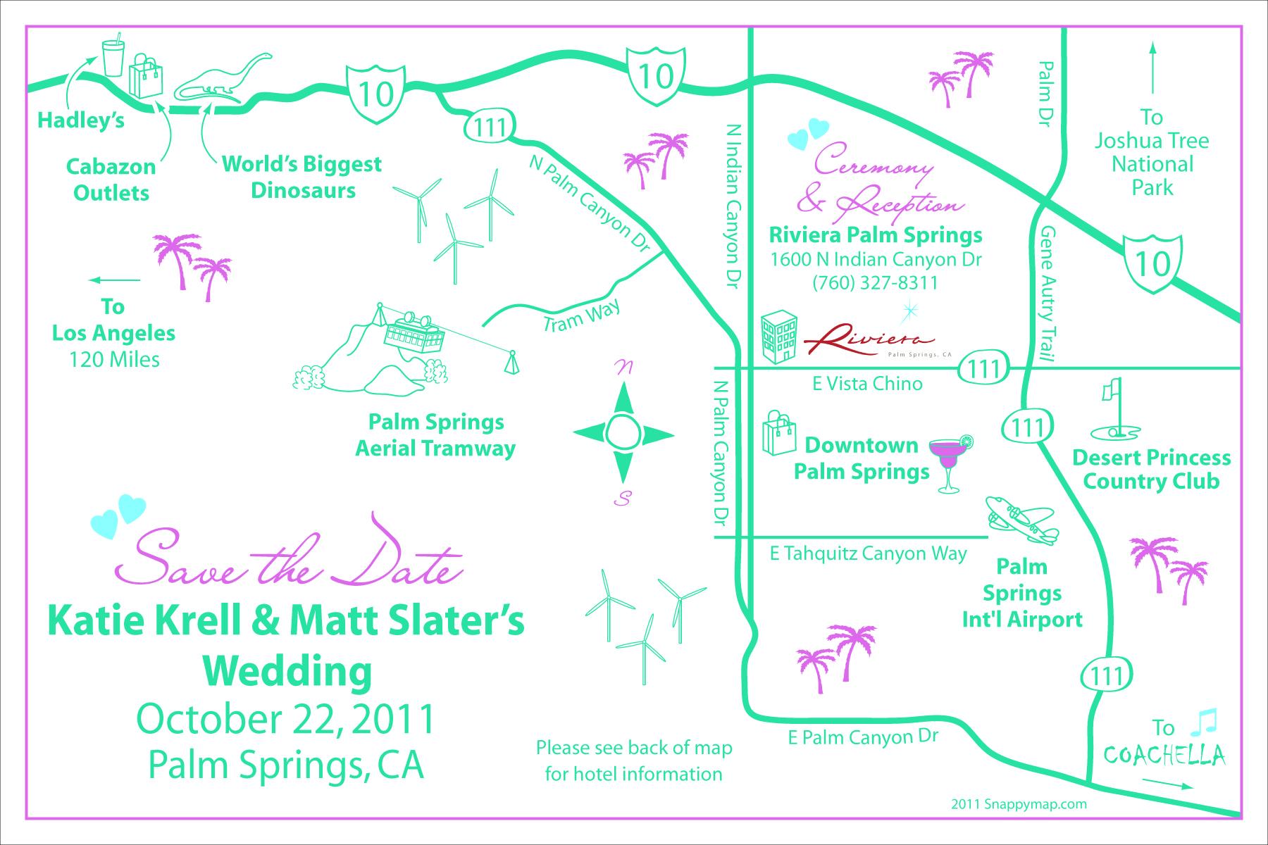 Fun Wedding Map Palm Springs
