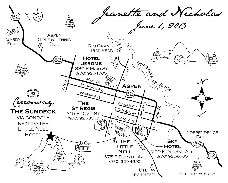 Fun Wedding Map Aspen